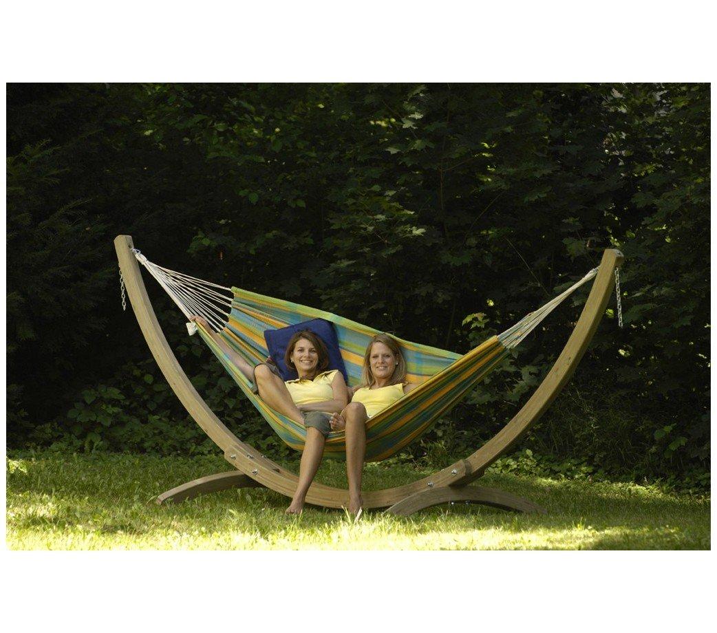 hamac double barbados lemon avec support bois olymp amazonas. Black Bedroom Furniture Sets. Home Design Ideas