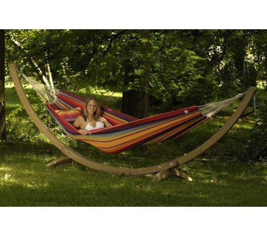 hamac double barbados rainbow avec support bois olymp amazonas. Black Bedroom Furniture Sets. Home Design Ideas