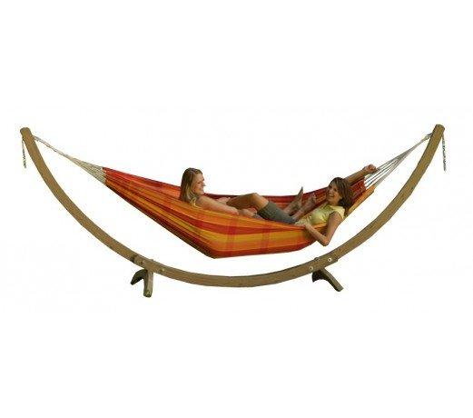 hamac double barbados papaya avec son support bois olymp amazonas. Black Bedroom Furniture Sets. Home Design Ideas