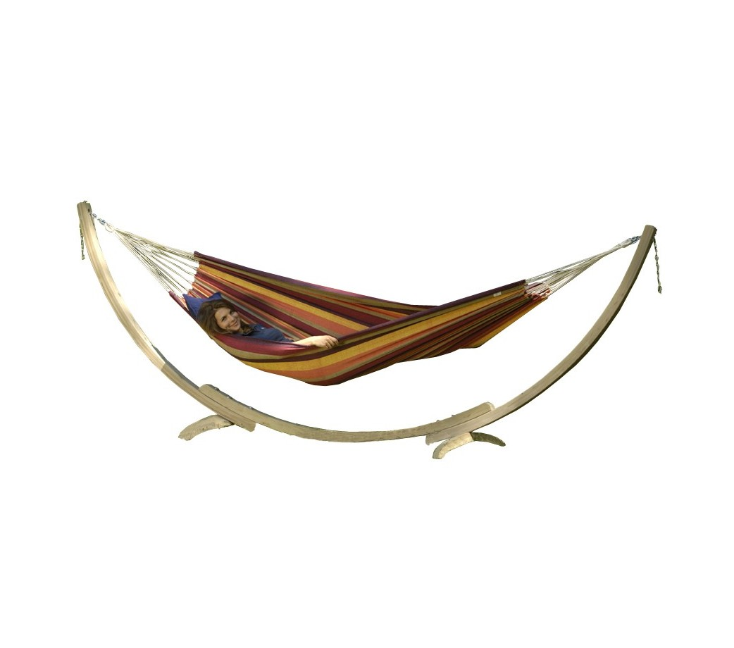 Hamac lambada tropical avec support bois apollo hamac store - Support hamac bois ...