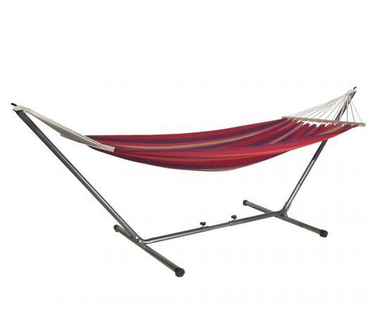 hamac barre mansalay rouge orange avec support. Black Bedroom Furniture Sets. Home Design Ideas